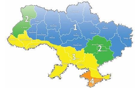 Температурные зоны украины